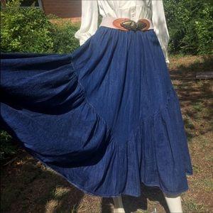 Vintage Skirts - Vintage Western Denim Dolores Maxi Skirt Full